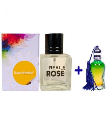 Real Rose Perfume + 10 Ml Rose Attar Free